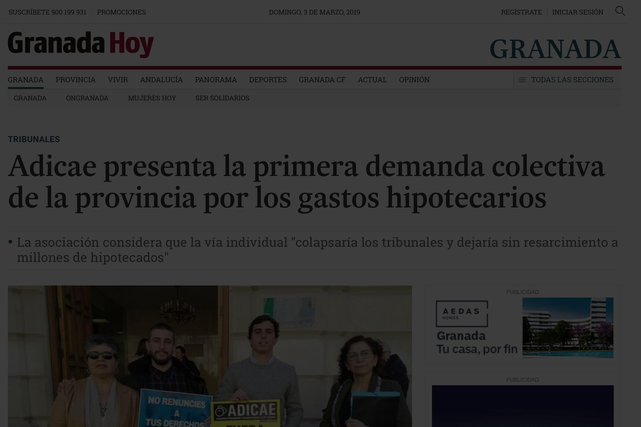 Granada Hoy informa sobre demandas colectivas por gastos hipotecarios